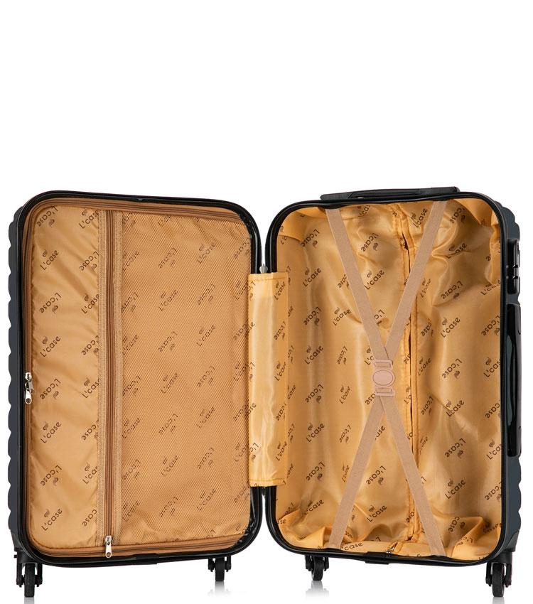 Большой чемодан спиннер Lcase New-Delhi black (71 см)