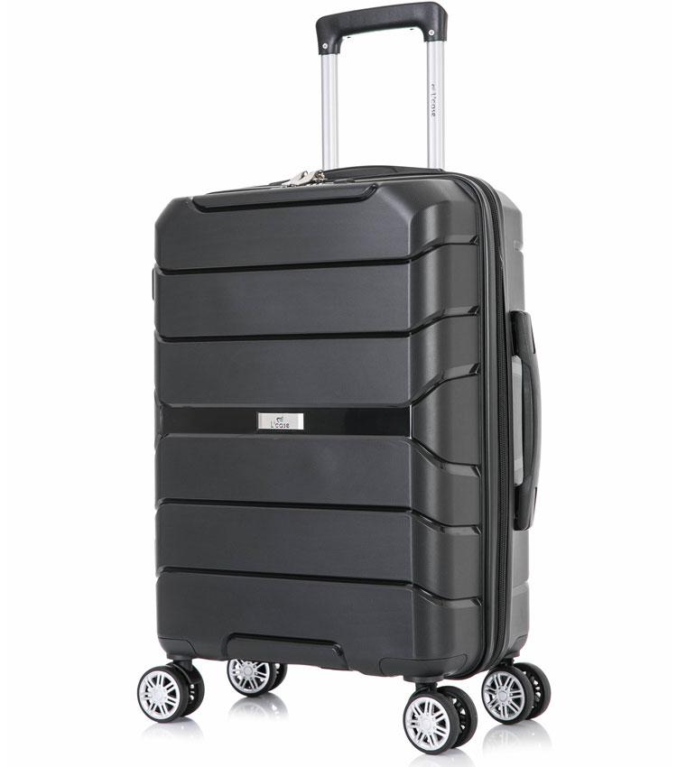 Большой чемодан спиннер Lcase Singapore black (78 см)