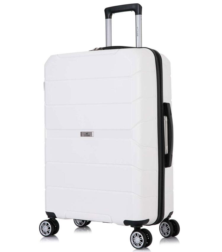 Большой чемодан спиннер Lcase Singapore white (78 см)