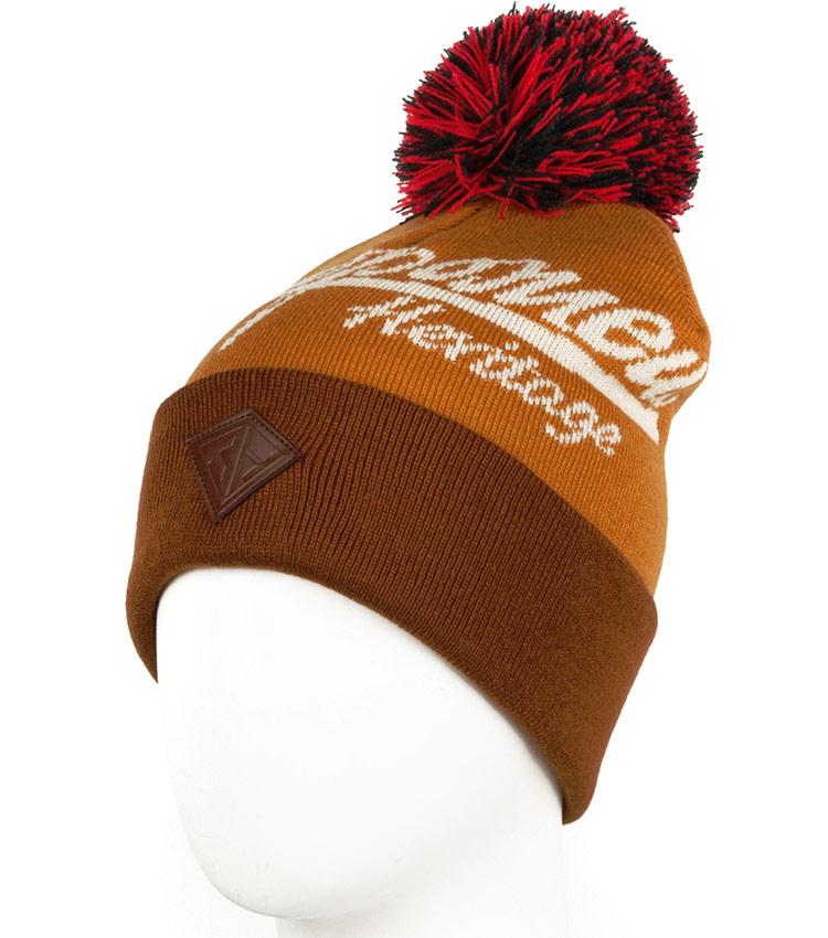 Шапка с помпоном Запорожец Logo brown