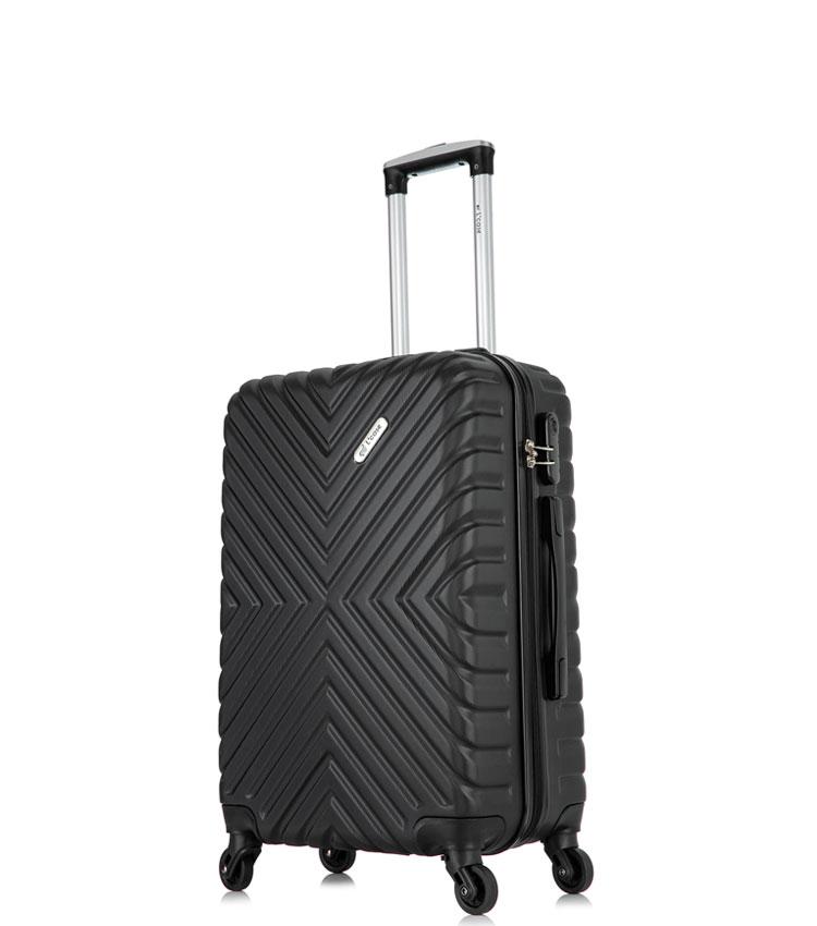 Малый чемодан спиннер Lcase New-Delhi black (50 см) ~ручная кладь~