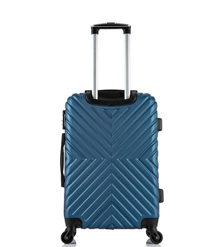 Малый чемодан спиннер Lcase New-Delhi dark blue (50 см) ~ручная кладь~