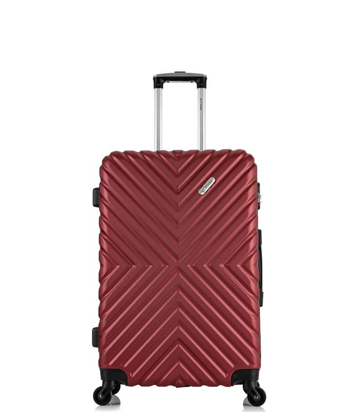 Малый чемодан спиннер Lcase New-Delhi red wine (50 см) ~ручная кладь~