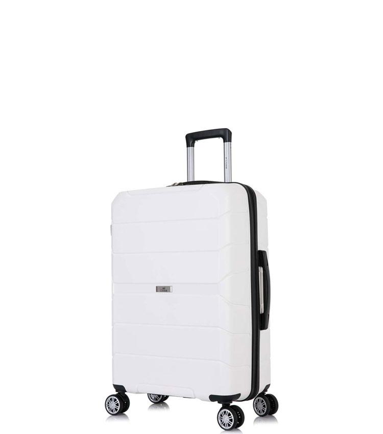 Малый чемодан спиннер Lcase Singapore white (57 см)