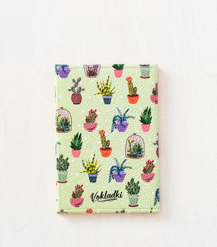 Обложка для паспорта Vokladki «Кактусы»