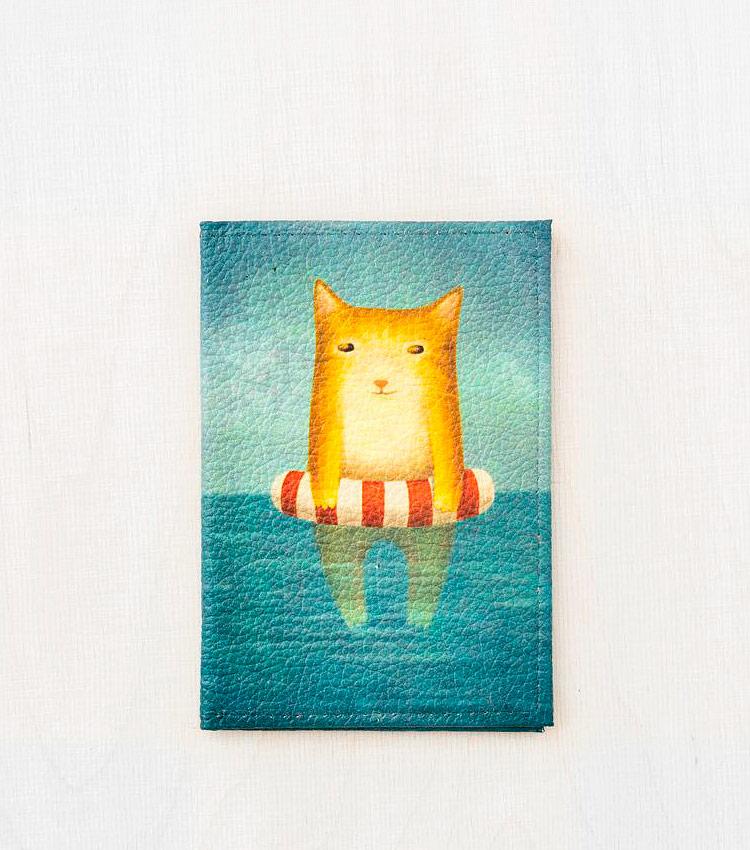 Обложка для авто документов Vokladki «Котик в море»