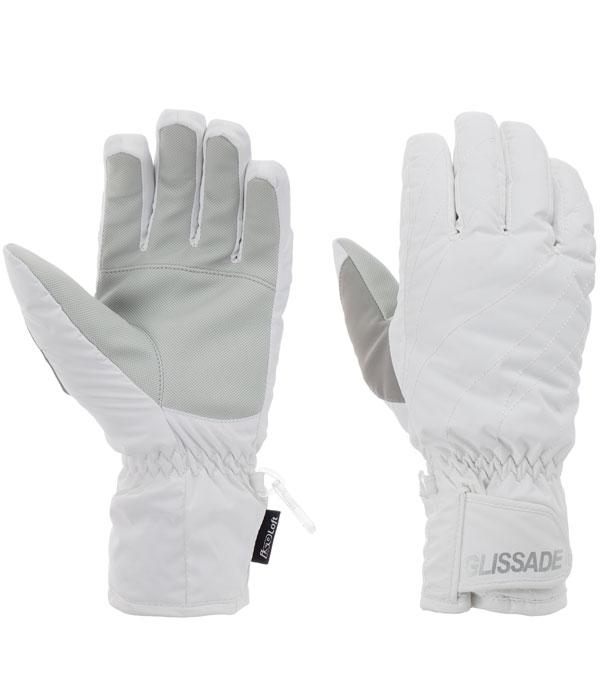 Перчатки горнолыжные женские Glissade white