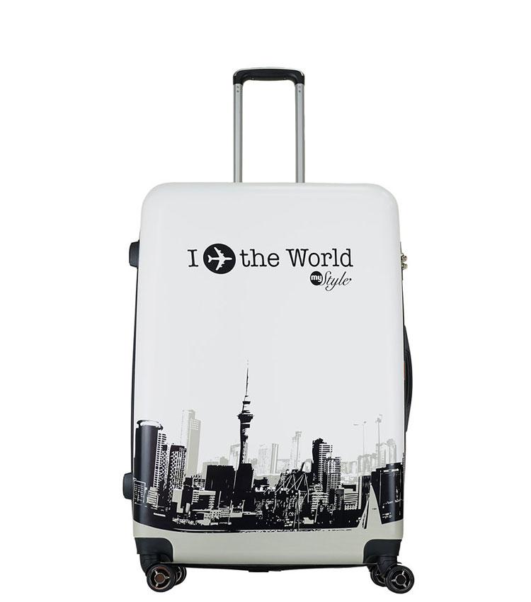 Средний чемодан спиннер Lcase I LOVE THE WORLD (63 см)
