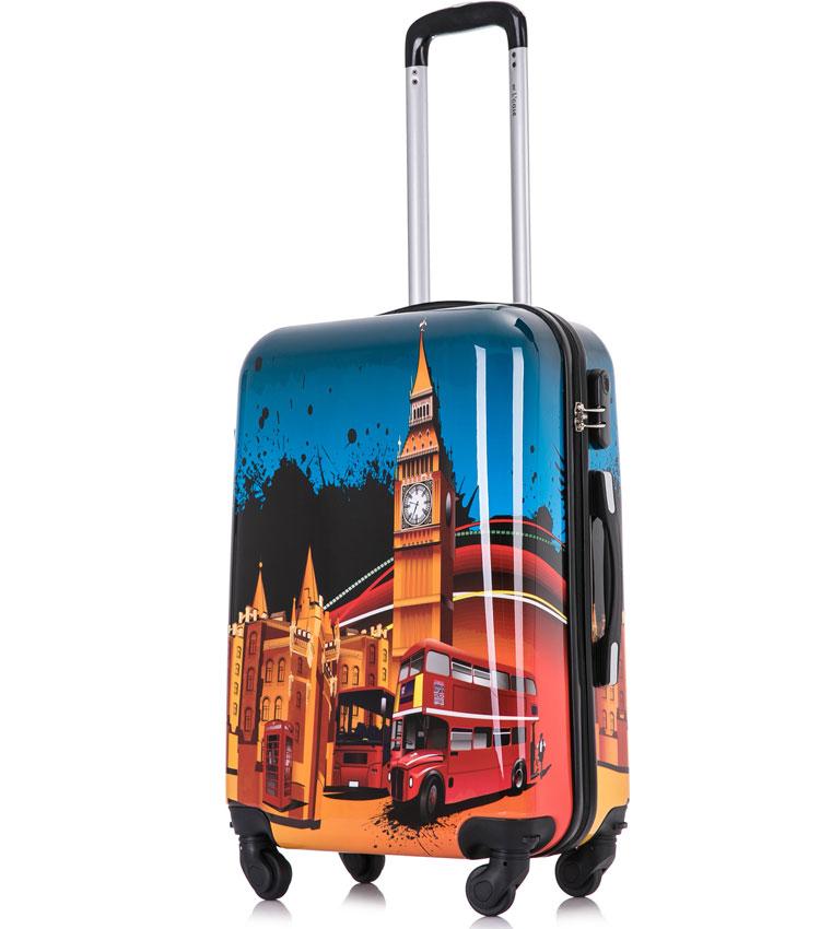 Средний чемодан спиннер Lcase LONDON BUS (63 см)