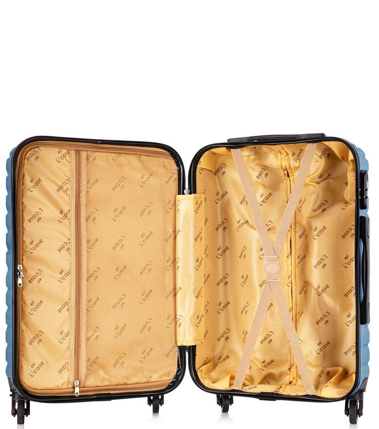 Средний чемодан спиннер Lcase New-Delhi blue (61 см)