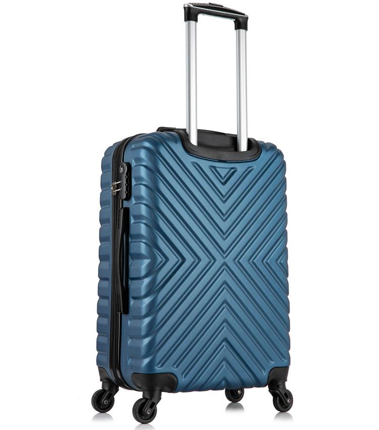 Средний чемодан спиннер Lcase New-Delhi dark blue (61 см)