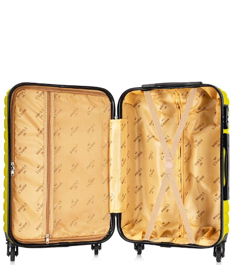 Средний чемодан спиннер Lcase New-Delhi yellow (61 см)