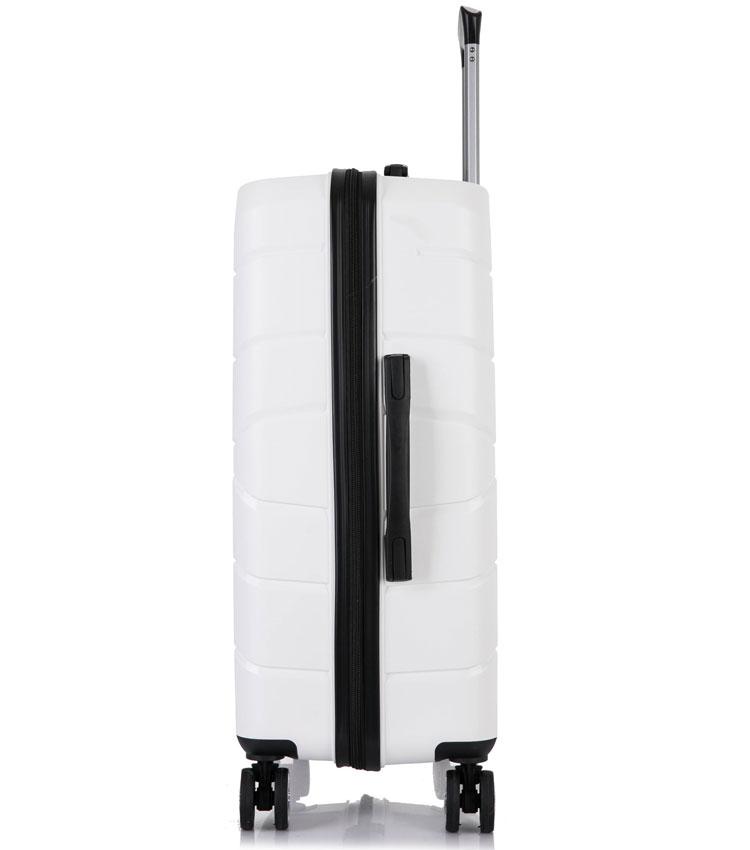 Средний чемодан спиннер Lcase Singapore white (68 см)
