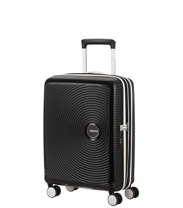 Малый чемодан American Tourister Soundbox Spinner  32G*29001 (55 см) Black/White ~ручная кладь~