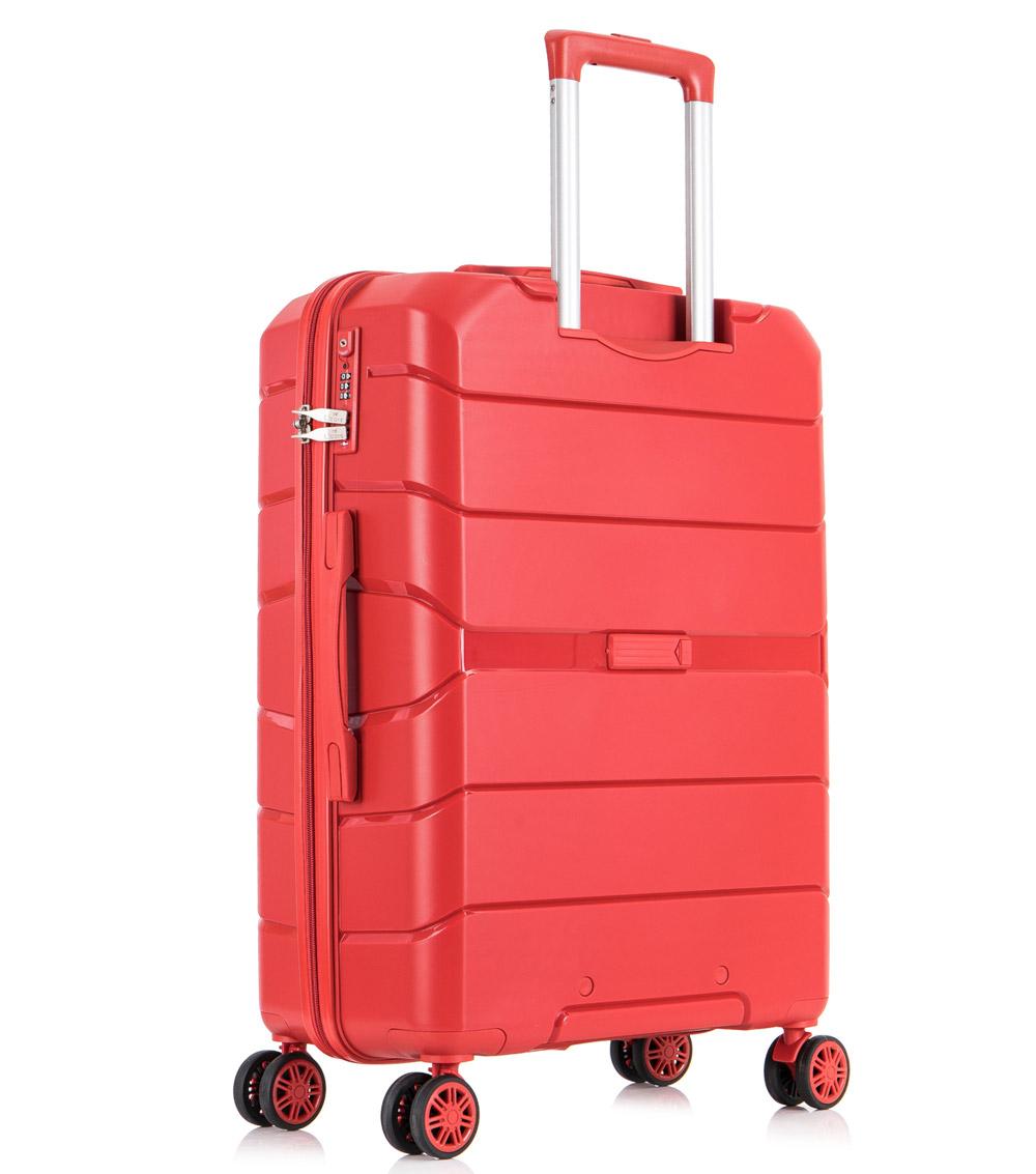 Средний чемодан спиннер L-case Singapore red (68 см)