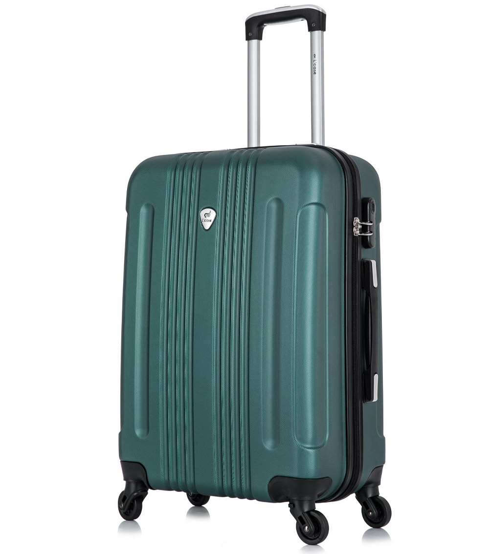 Средний чемодан спиннер L-case Bangkok dark-green (63 см)