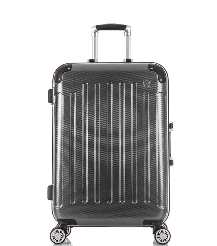Средний чемодан спиннер Lcase Milan black (68 см)