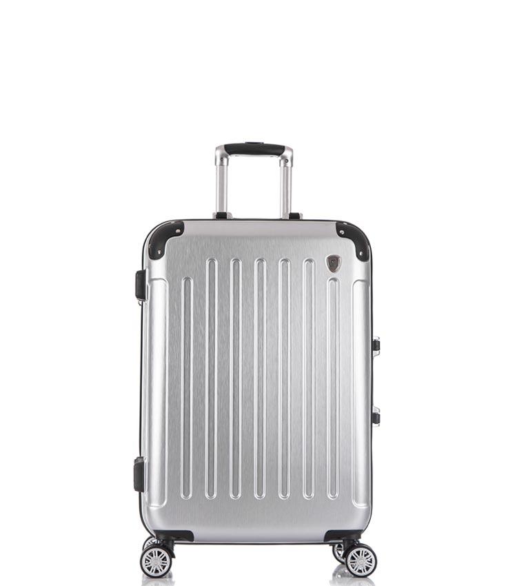 Малый чемодан спиннер Lcase Milan silver (58 см)