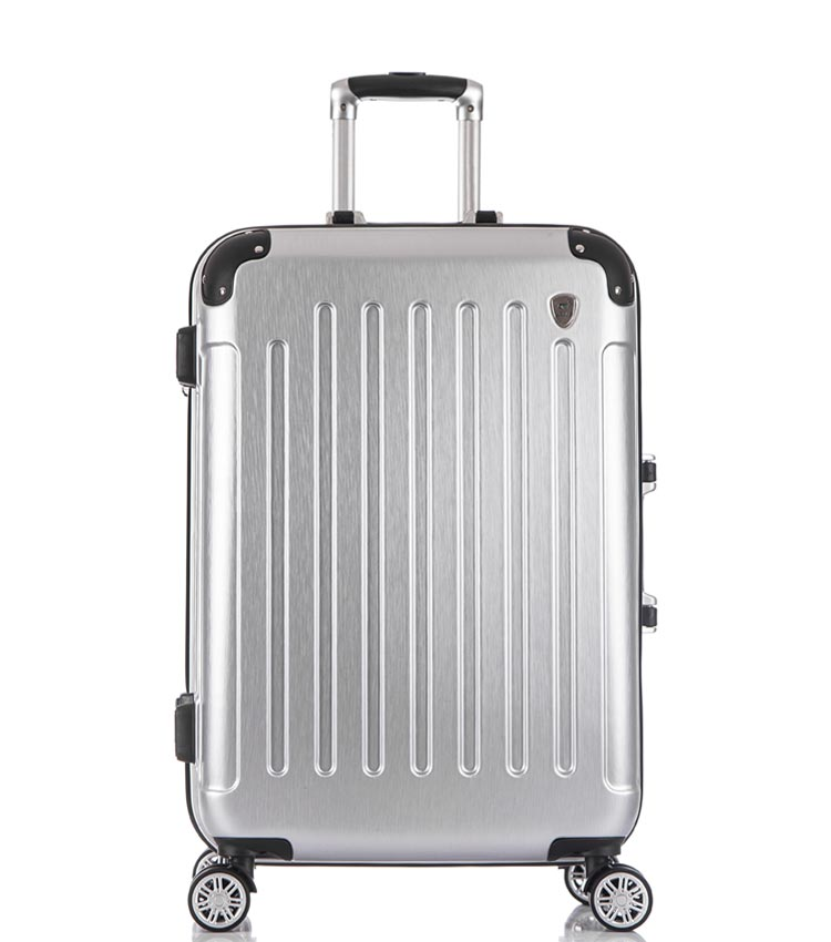 Средний чемодан спиннер Lcase Milan silver (68 см)