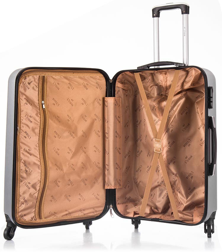 Средний чемодан спиннер Lcase Phatthaya light-grey (69 см)