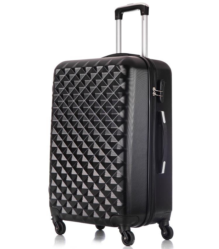 Средний чемодан спиннер Lcase Phatthaya black (69 см)