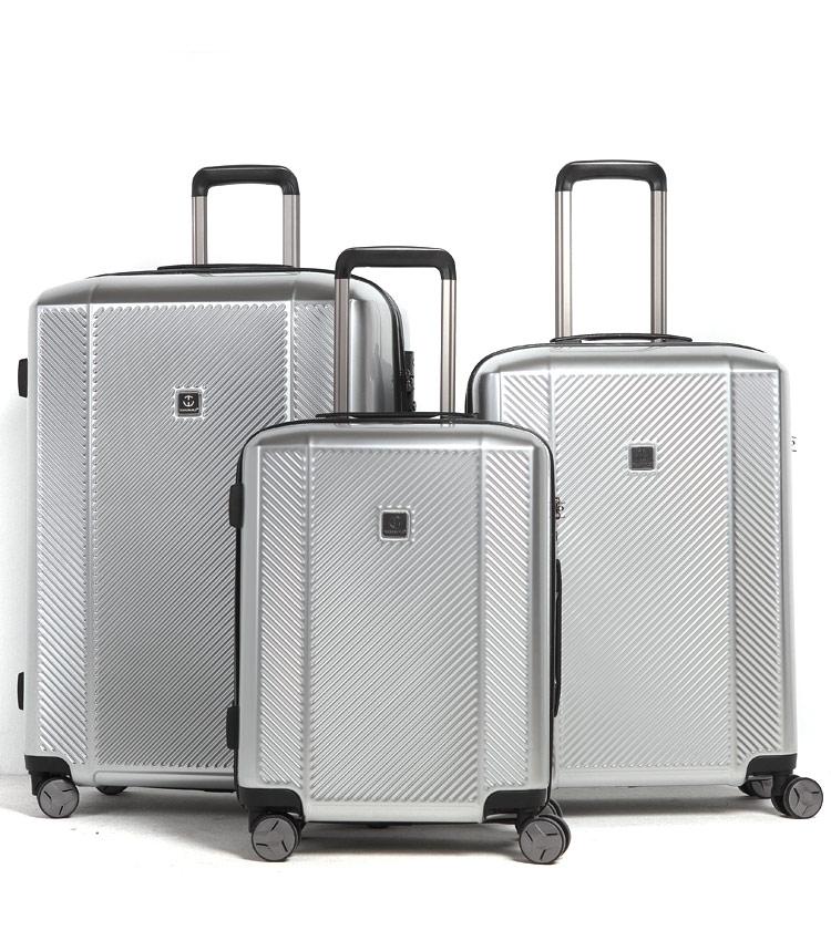Средний чемодан спиннер Transworld 17230 silver (66 см)