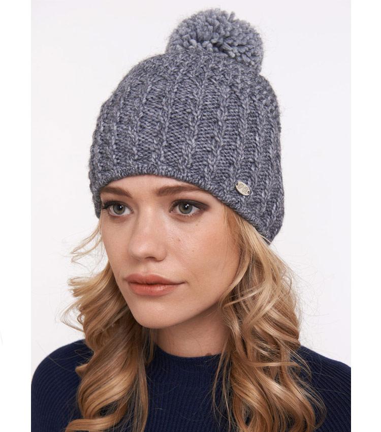 Женская шапка с помпоном WAG PB55 d.grey