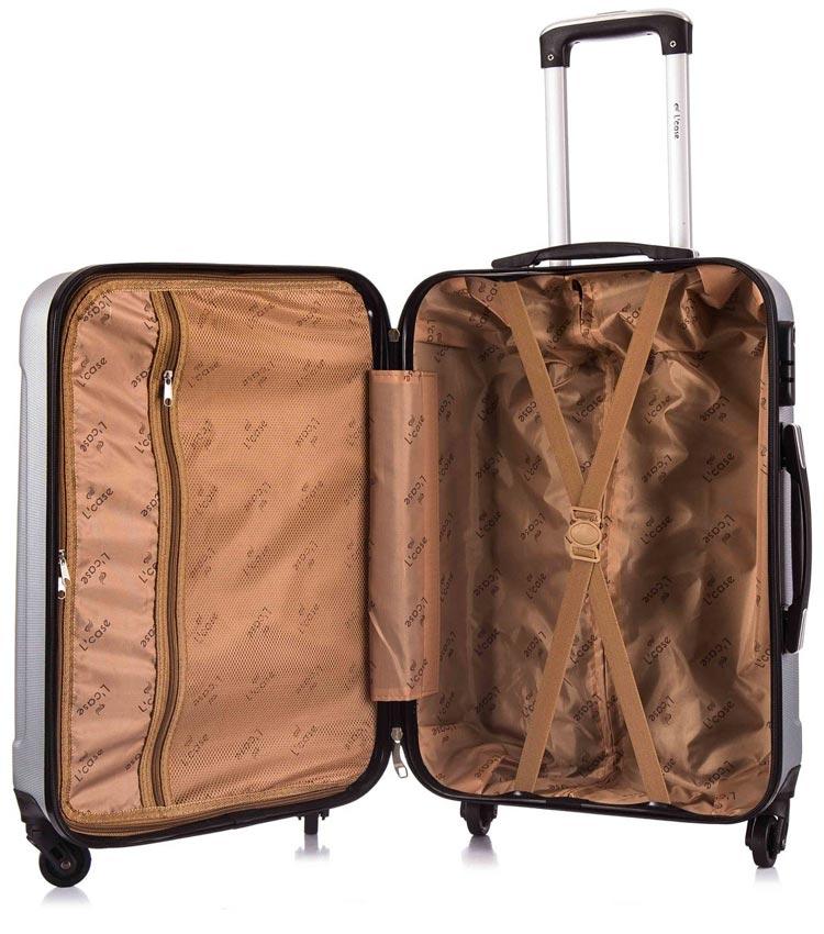 Средний чемодан спиннер Lcase Phuket black (69 см)
