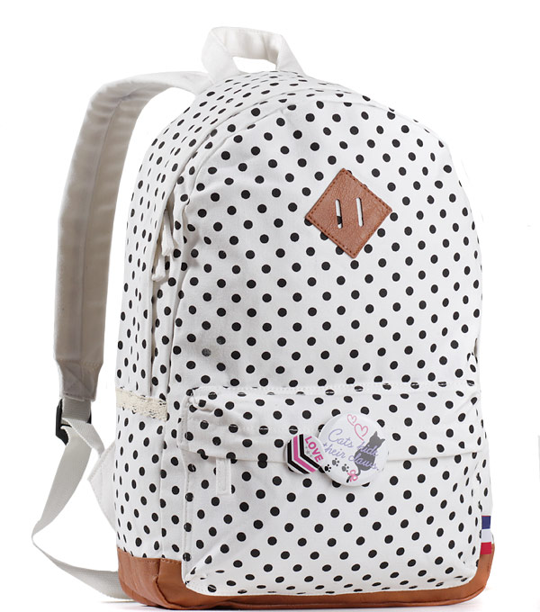 Женский рюкзак Bonjour белый с точками