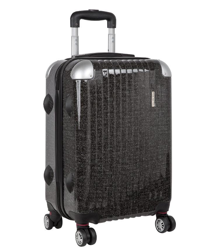Средний чемодан спиннер Polar Р1011 black (65 см)